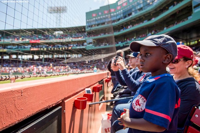 BOSTON, MA - MAY 15: A young fan looks on before a game between the Boston Red Sox and the Houston Astros on May 15, 2016 at Fenway Park in Boston, Massachusetts. (Photo by Billie Weiss/Boston Red Sox/Getty Images) *** Local Caption ***