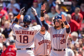 BOSTON, MA - MAY 15: Luis Valbuena #18 of the Houston Astros high fives Colby Rasmus #28 after hitting a three run home run during the second inning of a game against the Boston Red Sox on May 15, 2016 at Fenway Park in Boston, Massachusetts. (Photo by Billie Weiss/Boston Red Sox/Getty Images) *** Local Caption *** Luis Valbuena; Colby Rasmus
