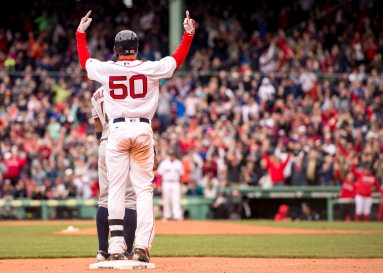 BOSTON, MA - MAY 15: Mookie Betts #50 of the Boston Red Sox reacts after hitting an RBI triple to give the team the lead during the seventh inning of a game against the Houston Astros on May 15, 2016 at Fenway Park in Boston, Massachusetts. (Photo by Billie Weiss/Boston Red Sox/Getty Images) *** Local Caption *** Mookie Betts