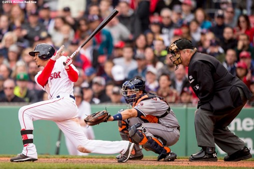 BOSTON, MA - MAY 15: Mookie Betts #50 of the Boston Red Sox legs out an RBI triple to give the team the lead during the seventh inning of a game against the Houston Astros on May 15, 2016 at Fenway Park in Boston, Massachusetts. (Photo by Billie Weiss/Boston Red Sox/Getty Images) *** Local Caption *** Mookie Betts