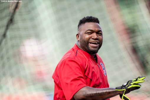 BOSTON, MA - MAY 20: David Ortiz #34 of the Boston Red Sox reacts before a game against the Cleveland Indians on May 20, 2016 at Fenway Park in Boston, Massachusetts. (Photo by Billie Weiss/Boston Red Sox/Getty Images) *** Local Caption *** David Ortiz