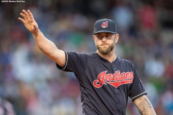 BOSTON, MA - MAY 20: Mike Napoli #26 of the Cleveland Indians gives a curtain call as he is acknowledged during the second inning of a game against the Boston Red Sox on May 20, 2016 at Fenway Park in Boston, Massachusetts. (Photo by Billie Weiss/Boston Red Sox/Getty Images) *** Local Caption *** Mike Napoli