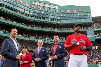 BOSTON, MA - MAY 20: Former Boston Red Sox pitcher Tim Wakefield, grand daughter of former Boston Red Sox player Ira Flagstead Tami Garvin, President & CEO Emeritus Larry Lucchino, former catcher Jason Varitek, and David Ortiz #34 look on before throwing out a ceremonial first pitch during a Red Sox Hall of Fame Class of 2016 ceremony before a game between the Boston Red Sox and the Cleveland Indians on May 20, 2016 at Fenway Park in Boston, Massachusetts. (Photo by Billie Weiss/Boston Red Sox/Getty Images) *** Local Caption *** Larry Lucchino; Jason Varitek; Tim Wakefield; David Ortiz; Tami Garvin