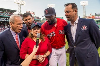 BOSTON, MA - MAY 20: Boston Red Sox President & CEO Emeritus Larry Lucchino, former Boston Red Sox catcher Jason Varitek, grand daughter of former Boston Red Sox player Ira Flagstead Tami Garvin, David Ortiz #34, and former Boston Red Sox pitcher Tim Wakefield announce 'Play Ball' during a Red Sox Hall of Fame Class of 2016 ceremony before a game between the Boston Red Sox and the Cleveland Indians on May 20, 2016 at Fenway Park in Boston, Massachusetts. (Photo by Billie Weiss/Boston Red Sox/Getty Images) *** Local Caption *** Larry Lucchino; Jason Varitek; Tim Wakefield; David Ortiz; Tami Garvin