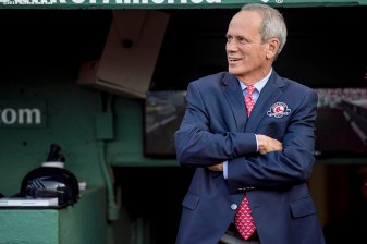BOSTON, MA - MAY 20: Boston Red Sox President & CEO Emeritus Larry Lucchino is introduced during a Red Sox Hall of Fame Class of 2016 ceremony before a game between the Boston Red Sox and the Cleveland Indians on May 20, 2016 at Fenway Park in Boston, Massachusetts. (Photo by Billie Weiss/Boston Red Sox/Getty Images) *** Local Caption *** Larry Lucchino