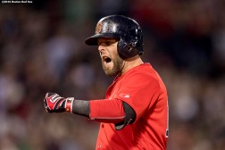BOSTON, MA - MAY 20: Dustin Pedroia #15 of the Boston Red Sox reacts after hitting a single during the eighth inning of a game against the Cleveland Indians on May 20, 2016 at Fenway Park in Boston, Massachusetts. (Photo by Billie Weiss/Boston Red Sox/Getty Images) *** Local Caption *** Dustin Pedroia