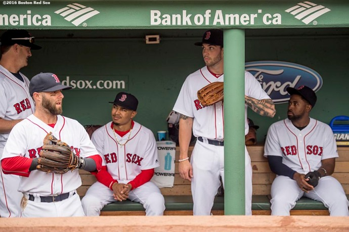 BOSTON, MA - MAY 21: Steven Wright #335, Dustin Pedroia #15, Mookie Betts #50, Blake Swihart #23 and Jackie Bradley Jr. #25 of the Boston Red Sox look on from the dugout before a game against the Cleveland Indians on May 21, 2016 at Fenway Park in Boston, Massachusetts. (Photo by Billie Weiss/Boston Red Sox/Getty Images) *** Local Caption *** Dustin Pedroia; Steven Wright; Mookie Betts; Blake Swihart; Jackie Bradley Jr.