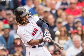 BOSTON, MA - MAY 21: Hanley Ramirez #13 of the Boston Red Sox hits an RBI single during the third inning of a game against the Cleveland Indians on May 21, 2016 at Fenway Park in Boston, Massachusetts. (Photo by Billie Weiss/Boston Red Sox/Getty Images) *** Local Caption *** Hanley Ramirez