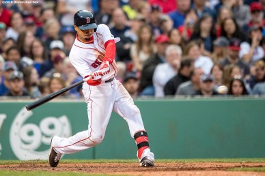 BOSTON, MA - MAY 21: Mookie Betts #50 of the Boston Red Sox hits a grand slam home run during the seventh inning of a game against the Cleveland Indians on May 21, 2016 at Fenway Park in Boston, Massachusetts. (Photo by Billie Weiss/Boston Red Sox/Getty Images) *** Local Caption *** Mookie Betts
