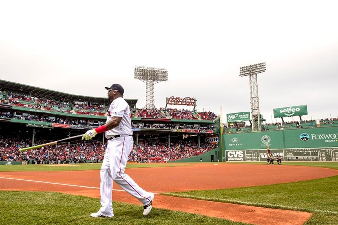 BOSTON, MA - MAY 22: David Ortiz #34 of the Boston Red Sox walks toward the dugout before a game against the Cleveland Indians on May 22, 2016 at Fenway Park in Boston, Massachusetts. (Photo by Billie Weiss/Boston Red Sox/Getty Images) *** Local Caption *** David Ortiz