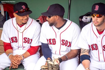 BOSTON, MA - MAY 22: Mookie Betts #50, Jackie Bradley Jr. #25, and Blake Swihart #23 of the Boston Red Sox talk in the dugout before a game against the Cleveland Indians on May 22, 2016 at Fenway Park in Boston, Massachusetts. (Photo by Billie Weiss/Boston Red Sox/Getty Images) *** Local Caption *** Mookie Betts; Jackie Bradley Jr.; Blake Swihart