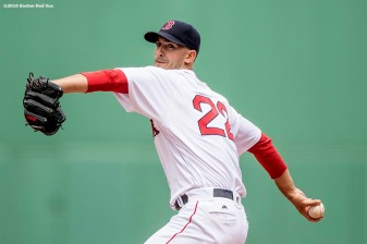 BOSTON, MA - MAY 22: Rick Porcello #22 of the Boston Red Sox delivers during the first inning of a game against the Cleveland Indians on May 22, 2016 at Fenway Park in Boston, Massachusetts. (Photo by Billie Weiss/Boston Red Sox/Getty Images) *** Local Caption *** Rick Porcello