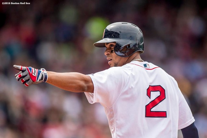 BOSTON, MA - MAY 22: Xander Bogaerts #2 of the Boston Red Sox reacts after hitting a single during the second inning of a game against the Cleveland Indians on May 22, 2016 at Fenway Park in Boston, Massachusetts. (Photo by Billie Weiss/Boston Red Sox/Getty Images) *** Local Caption *** Xander Bogaerts