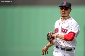 BOSTON, MA - MAY 22: Mookie Betts #50 of the Boston Red Sox reacts as he runs into the dugout during the third inning of a game against the Cleveland Indians on May 22, 2016 at Fenway Park in Boston, Massachusetts. (Photo by Billie Weiss/Boston Red Sox/Getty Images) *** Local Caption *** Mookie Betts