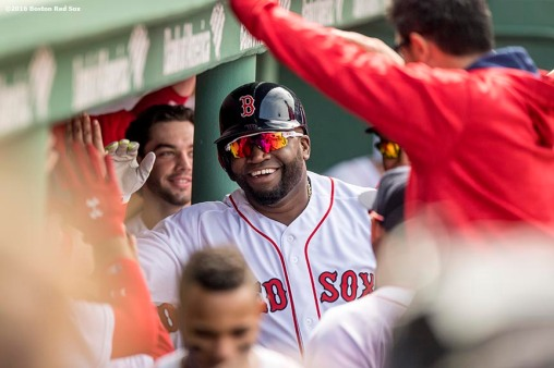 BOSTON, MA - MAY 22: David Ortiz #34 of the Boston Red Sox reacts after hitting a solo home run during the fifth inning of a game against the Cleveland Indians on May 22, 2016 at Fenway Park in Boston, Massachusetts. (Photo by Billie Weiss/Boston Red Sox/Getty Images) *** Local Caption *** David Ortiz