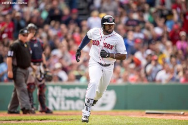 BOSTON, MA - MAY 22: Jackie Bradley Jr. #25 of the Boston Red Sox runs to first base after hitting a single during the fifth inning of a game against the Cleveland Indians on May 22, 2016 at Fenway Park in Boston, Massachusetts, extending his hitting streak to 27 straight games. (Photo by Billie Weiss/Boston Red Sox/Getty Images) *** Local Caption *** Jackie Bradley Jr.