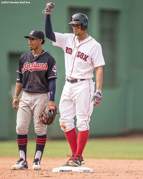 BOSTON, MA - MAY 22: Xander Bogaerts #2 of the Boston Red Sox reacts after hitting an RBI double as Francisco Lindor #12 of the Cleveland Indians looks on during the sixth inning of a game on May 22, 2016 at Fenway Park in Boston, Massachusetts. (Photo by Billie Weiss/Boston Red Sox/Getty Images) *** Local Caption *** Xander Bogaerts; Francisco Lindor