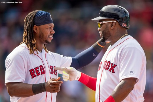 BOSTON, MA - MAY 22: Hanley Ramirez #13 and David Ortiz #34 of the Boston Red Sox talk during the sixth inning of a game against the Cleveland Indians on May 22, 2016 at Fenway Park in Boston, Massachusetts. (Photo by Billie Weiss/Boston Red Sox/Getty Images) *** Local Caption *** Hanley Ramirez; David Ortiz