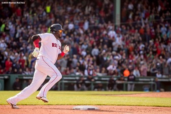 BOSTON, MA - MAY 22: David Ortiz #34 of the Boston Red Sox rounds first base after hitting a ground rule double during the eighth inning of a game against the Cleveland Indians on May 22, 2016 at Fenway Park in Boston, Massachusetts. (Photo by Billie Weiss/Boston Red Sox/Getty Images) *** Local Caption *** David Ortiz