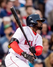BOSTON, MA - MAY 24: Jackie Bradley Jr. #25 of the Boston Red Sox hits a double during the second inning of a game against the Colorado Rockies on May 24, 2016 at Fenway Park in Boston, Massachusetts, extending his hitting streak to 28 straight games. (Photo by Billie Weiss/Boston Red Sox/Getty Images) *** Local Caption *** Jackie Bradley Jr.