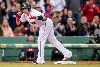 BOSTON, MA - MAY 24: Christian Vazquez #7 of the Boston Red Sox reacts after hitting an RBI triple during the second inning of a game against the Colorado Rockies on May 24, 2016 at Fenway Park in Boston, Massachusetts. (Photo by Billie Weiss/Boston Red Sox/Getty Images) *** Local Caption *** Christian Vazquez