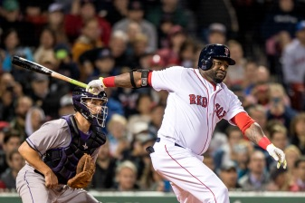 BOSTON, MA - MAY 24: David Ortiz #34 of the Boston Red Sox hits an RBI double during the fourth inning of a game against the Colorado Rockies on May 24, 2016 at Fenway Park in Boston, Massachusetts. (Photo by Billie Weiss/Boston Red Sox/Getty Images) *** Local Caption *** David Ortiz