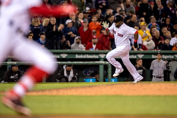 BOSTON, MA - MAY 24: David Ortiz #34 of the Boston Red Sox runs toward home to score during the fourth inning of a game against the Colorado Rockies on May 24, 2016 at Fenway Park in Boston, Massachusetts. (Photo by Billie Weiss/Boston Red Sox/Getty Images) *** Local Caption *** David Ortiz