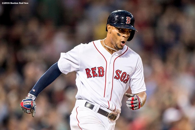 BOSTON, MA - MAY 25: Xander Bogaerts #2 of the Boston Red Sox reacts after hitting a solo home run during the fourth inning of a game against the Colorado Rockies on May 25, 2016 at Fenway Park in Boston, Massachusetts. (Photo by Billie Weiss/Boston Red Sox/Getty Images) *** Local Caption *** Xander Bogaerts