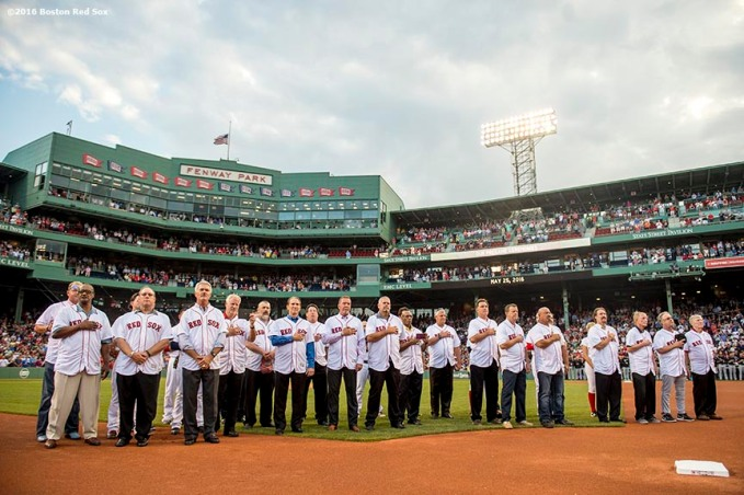 BOSTON, MA - MAY 25: Members of the 1986 Boston Red Sox are introduced during a 1986 20-year team reunion ceremony before a game between the Boston Red Sox and the Colorado Rockies on May 25, 2016 at Fenway Park in Boston, Massachusetts. (Photo by Billie Weiss/Boston Red Sox/Getty Images) *** Local Caption ***