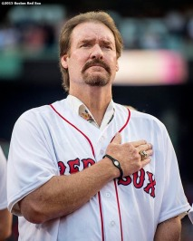 BOSTON, MA - MAY 25: Former Boston Red Sox player Wade Boggs looks on as the National Anthem is played during a 1986 20-year team reunion ceremony before a game between the Boston Red Sox and the Colorado Rockies on May 25, 2016 at Fenway Park in Boston, Massachusetts. (Photo by Billie Weiss/Boston Red Sox/Getty Images) *** Local Caption *** Wade Boggs