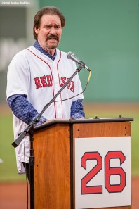 BOSTON, MA - MAY 26: Former Boston Red Sox third baseman Wade Boggs speaks as his number is retired during a special ceremony before a game between the Boston Red Sox and the Colorado Rockies on May 26, 2016 at Fenway Park in Boston, Massachusetts. (Photo by Billie Weiss/Boston Red Sox/Getty Images) *** Local Caption *** Wade Boggs