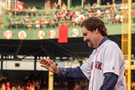 BOSTON, MA - MAY 26: Former Boston Red Sox third baseman Wade Boggs is introduced as his number is retired during a special ceremony before a game between the Boston Red Sox and the Colorado Rockies on May 26, 2016 at Fenway Park in Boston, Massachusetts. (Photo by Billie Weiss/Boston Red Sox/Getty Images) *** Local Caption *** Wade Boggs