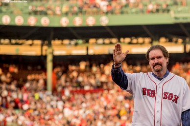 BOSTON, MA - MAY 26: Former Boston Red Sox third baseman Wade Boggs reacts as his jersey number is unveiled during a special number retirement ceremony before a game between the Boston Red Sox and the Colorado Rockies on May 26, 2016 at Fenway Park in Boston, Massachusetts. (Photo by Billie Weiss/Boston Red Sox/Getty Images) *** Local Caption *** Wade Boggs