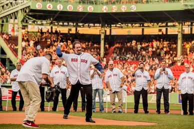 BOSTON, MA - MAY 26: Former Boston Red Sox third baseman Wade Boggs throws out a ceremonial first pitch as his number is retired during a special ceremony before a game between the Boston Red Sox and the Colorado Rockies on May 26, 2016 at Fenway Park in Boston, Massachusetts. (Photo by Billie Weiss/Boston Red Sox/Getty Images) *** Local Caption *** Wade Boggs