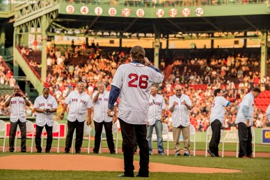 BOSTON, MA - MAY 26: Former Boston Red Sox third baseman Wade Boggs salutes former teammates as his number is retired during a special ceremony before a game between the Boston Red Sox and the Colorado Rockies on May 26, 2016 at Fenway Park in Boston, Massachusetts. (Photo by Billie Weiss/Boston Red Sox/Getty Images) *** Local Caption *** Wade Boggs