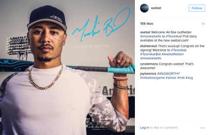 A byline on @axebat Instagram page as Boston Red Sox right fielder Mookie Betts poses for a photograph for Axe Bats at Fenway Park in Boston, Massachusetts Wednesday, May 25, 2016.