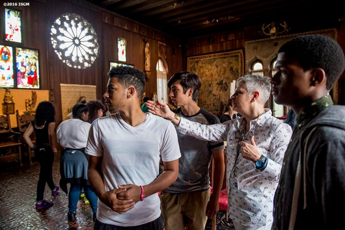 """""""Students attend an educational program in the Gothic Room at the Isabella Stewart Gardner Museum in Boston, Massachusetts Wednesday, June 2, 2016. """""""