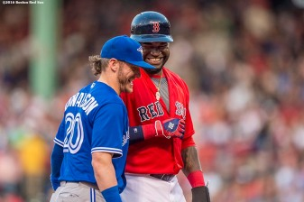 BOSTON, MA - JUNE 3: David Ortiz #34 of the Boston Red Sox reacts with Josh Donaldson #20 of the Toronto Blue Jays during the second inning of a game on June 3, 2016 at Fenway Park in Boston, Massachusetts. (Photo by Billie Weiss/Boston Red Sox/Getty Images) *** Local Caption *** David Ortiz; Josh Donaldson