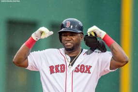 BOSTON, MA - JUNE 5: David Ortiz #34 of the Boston Red Sox reacts after hitting a double during the ninth inning of a game against the Toronto Blue Jays on June 5, 2016 at Fenway Park in Boston, Massachusetts. (Photo by Billie Weiss/Boston Red Sox/Getty Images) *** Local Caption *** David Ortiz
