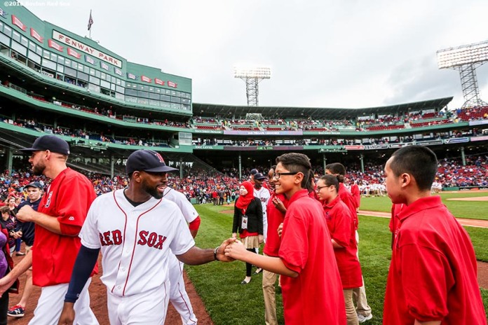 BOSTON, MA - JUNE 5: The 2016 Class of Boston Red Sox scholars are introduced before a game between the Boston Red Sox and the Toronto Blue Jays on June 5, 2016 at Fenway Park in Boston, Massachusetts. (Photo by Billie Weiss/Boston Red Sox/Getty Images) *** Local Caption ***