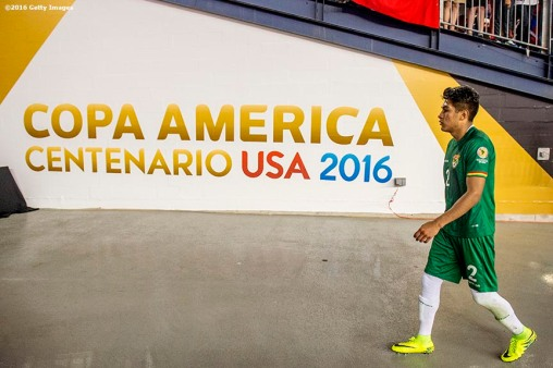 FOXBOROUGH, MASSACHUSETTS - JUNE 10: Mario Saavedra of Bolivia walks off the pitch after a group D match between Chile and Bolivia at Gillette Stadium as part of Copa America Centenario US 2016 on June 10, 2016 in Foxborough, Massachusetts, US. (Photo by Billie Weiss/LatinContent/Getty Images) *** Local Caption *** Mario Saavedra