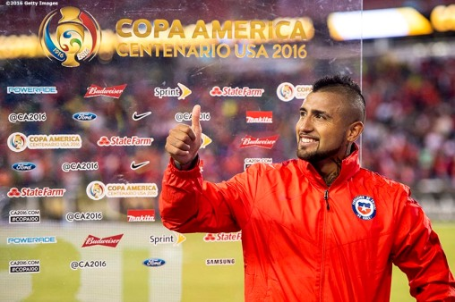 FOXBOROUGH, MASSACHUSETTS - JUNE 10: Arturo Vidal of Chile reacts during a post match interview after scoring the game winning goal on a penalty kick during a group D match between Chile and Bolivia at Gillette Stadium as part of Copa America Centenario US 2016 on June 10, 2016 in Foxborough, Massachusetts, US. (Photo by Billie Weiss/LatinContent/Getty Images) *** Local Caption *** Arturo Vidal