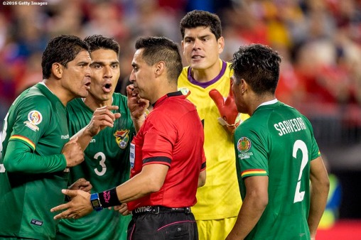 FOXBOROUGH, MASSACHUSETTS - JUNE 10: Edward Zenteno #22 and Luis GutiÈrrez #3 argue with a referee after a penalty was called that resulted in the game-winning goal for Chile during a group D match between Chile and Bolivia at Gillette Stadium as part of Copa America Centenario US 2016 on June 10, 2016 in Foxborough, Massachusetts, US. (Photo by Billie Weiss/LatinContent/Getty Images) *** Local Caption *** Edward Zenteno; Luis GutiÈrrez