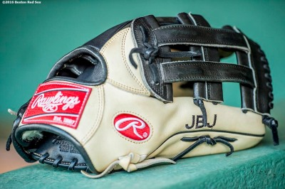 BOSTON, MA - JUNE 14: The glove of Jackie Bradley Jr. #25 of the Boston Red Sox is shown before a game against the Baltimore Orioles on June 14, 2016 at Fenway Park in Boston, Massachusetts. (Photo by Billie Weiss/Boston Red Sox/Getty Images) *** Local Caption *** Jackie Bradley Jr.