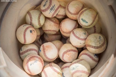 BOSTON, MA - JUNE 14: Baseballs are shownl before a game against the Baltimore Orioles on June 14, 2016 at Fenway Park in Boston, Massachusetts. (Photo by Billie Weiss/Boston Red Sox/Getty Images) *** Local Caption ***