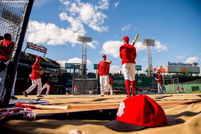 BOSTON, MA - JUNE 14: Members of the Boston Red Sox take batting practice before a game against the Baltimore Orioles on June 14, 2016 at Fenway Park in Boston, Massachusetts. (Photo by Billie Weiss/Boston Red Sox/Getty Images) *** Local Caption ***