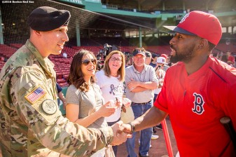 BOSTON, MA - JUNE 14: Jackie Bradley Jr. #25 of the Boston Red Sox greets a member of the military before a game against the Baltimore Orioles on June 14, 2016 at Fenway Park in Boston, Massachusetts. (Photo by Billie Weiss/Boston Red Sox/Getty Images) *** Local Caption *** Jackie Bradley Jr.