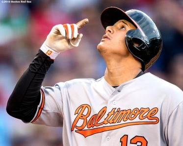 BOSTON, MA - JUNE 14: Manny Machado #13 of the Baltimore Orioles reacts after hitting a two-run home run during the first inning of a game against the Boston Red Sox on June 14, 2016 at Fenway Park in Boston, Massachusetts. (Photo by Billie Weiss/Boston Red Sox/Getty Images) *** Local Caption *** Manny Machado