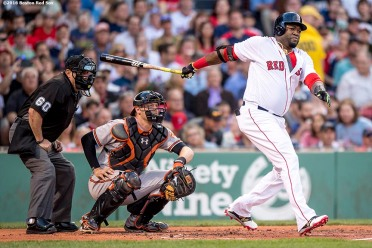 BOSTON, MA - JUNE 14: David Ortiz #34 of the Boston Red Sox hits a double during the second inning of a game against the Baltimore Orioles on June 14, 2016 at Fenway Park in Boston, Massachusetts. (Photo by Billie Weiss/Boston Red Sox/Getty Images) *** Local Caption *** David Ortiz