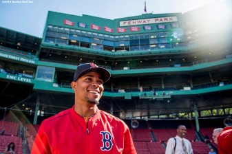 BOSTON, MA - JUNE 15: Xander Bogaerts #2 of the Boston Red Sox reacts before a game against the Baltimore Orioles on June 15, 2016 at Fenway Park in Boston, Massachusetts. (Photo by Billie Weiss/Boston Red Sox/Getty Images) *** Local Caption *** Xander Bogaerts